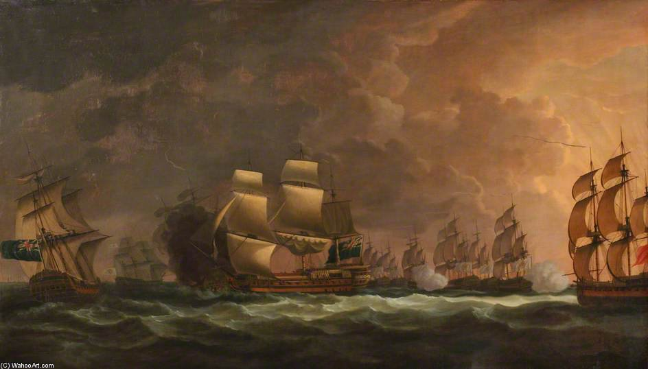 The Moonlight Battle - The Battle Off Cape St Vincent by Dominic Serres (1722-1793, France) | Oil Painting | WahooArt.com
