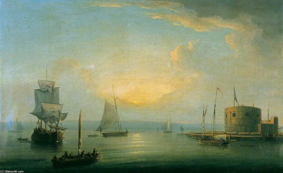 View Of Port Mahon by Dominic Serres (1722-1793, France) | Famous Paintings Reproductions | WahooArt.com