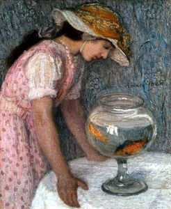 Fernand Edmond Jean Marie Khnopff - Young Girl With A Goldfish
