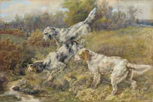 Edmund Henry Osthaus - English Setters At A Stream