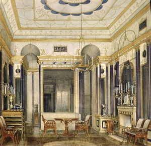 Eduard Hau - The Drawing Room Of The Empress Maria Alexandrovna In The Great Palais In Tsarskoye Selo