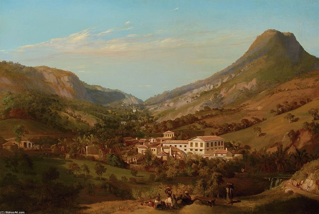 A Fazenda, Brazil, With A Group Of Slaves In The Foreground And A Hillside Beyond by Eduard Hildebrandt (1818-1868, Poland)