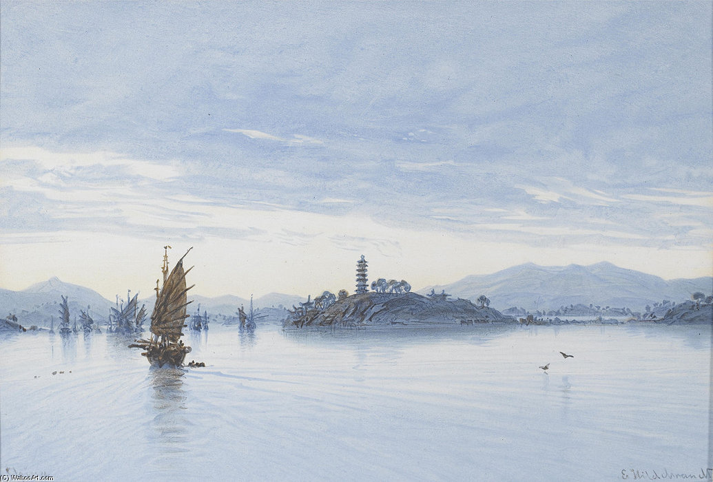 View On The Pearl River, Macao by Eduard Hildebrandt (1818-1868, Poland)