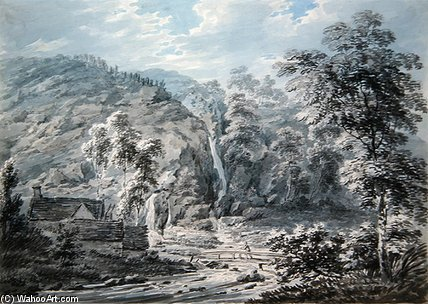 A Waterfall At Corwen, North Wales by Edward Dayes (1763-1804, United Kingdom) | Oil Painting | WahooArt.com