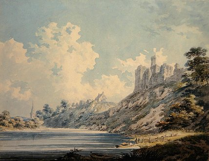 Order Oil Painting : Warkworth Castle by Edward Dayes (1763-1804, United Kingdom) | WahooArt.com