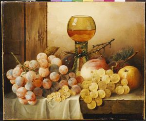 Edward Ladell - Plums And A Peach With Hock Glass