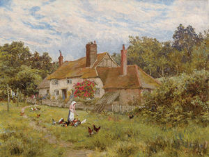 Edward Wilkins Waite - A Surrey Cottage In June