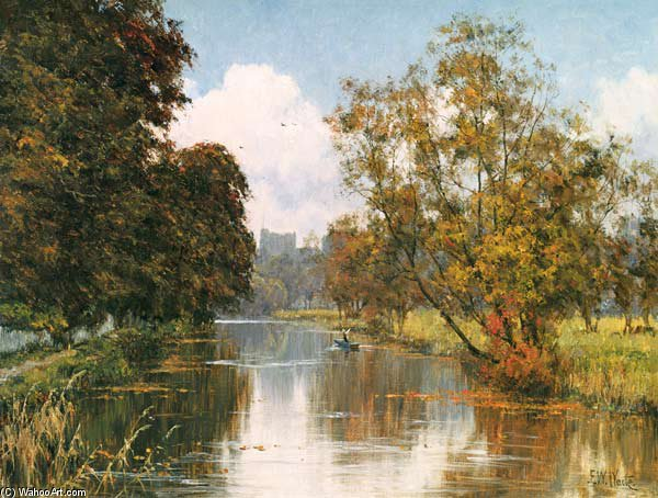 Guildford Castle From The River At St. Catherine`s by Edward Wilkins Waite (1854-1924, United Kingdom) | Museum Art Reproductions Edward Wilkins Waite | WahooArt.com