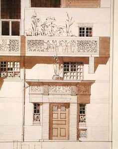 Edward William Godwin - Doorway And Front Elevation Of Studio And House For Frank Miles