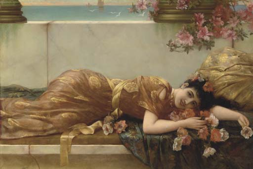 A Reclining Beauty by Emile Eisman Semenowsky (1859-1911)