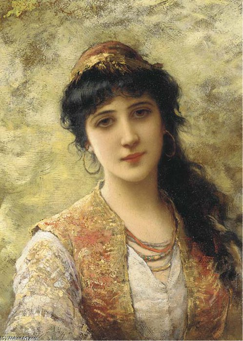 A Young Beauty In An Embroidered Vest by Emile Eisman Semenowsky (1859-1911) | Famous Paintings Reproductions | WahooArt.com