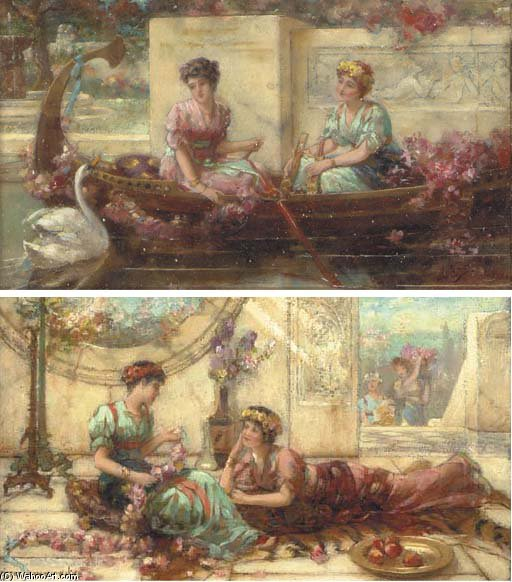 Elegant Maidens On A Terrace; And Maidens In A Boat by Emile Eisman Semenowsky (1859-1911) | Famous Paintings Reproductions | WahooArt.com