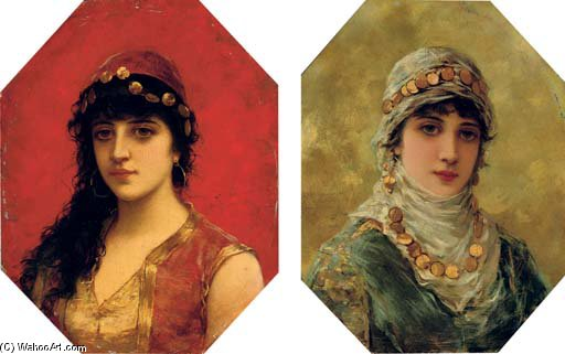Portrait Of A Woman In A White Head Scarf; And Portrait Of A Woman In A Red Tunic With Gold Trim by Emile Eisman Semenowsky (1859-1911) | Oil Painting | WahooArt.com