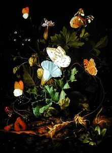 Elias Van Den Broeck - Still Life Of A Forest Floor With Flowers, A Mouse And Butterflies