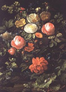Elias Van Den Broeck - Still Life With Roses, Insects And Snails