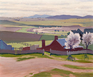 Elioth Gruner - Spring - A Farm And Blossom Trees At Bathurst