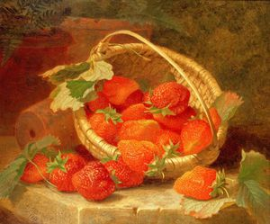Eloise Harriet Stannard - A Basket Of Strawberries On A Stone Ledge