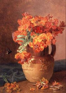 Eloise Harriet Stannard - A Still Life With Wallflowers In A Stoneware Jug