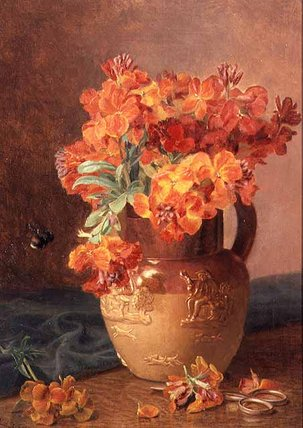 A Still Life With Wallflowers In A Stoneware Jug by Eloise Harriet Stannard (1829-1915, United Kingdom) | Reproductions Eloise Harriet Stannard | WahooArt.com
