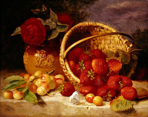 Eloise Harriet Stannard - Still Life Of Basket With Strawberries And Cherries