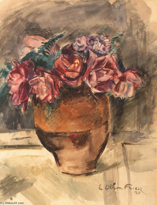 A Still Life With Flowers In A Vase by Emile Othon Friesz (1879-1949, France)