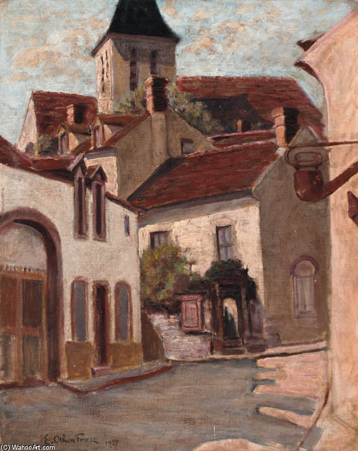 A Village Street by Emile Othon Friesz (1879-1949, France) | Museum Quality Reproductions | WahooArt.com