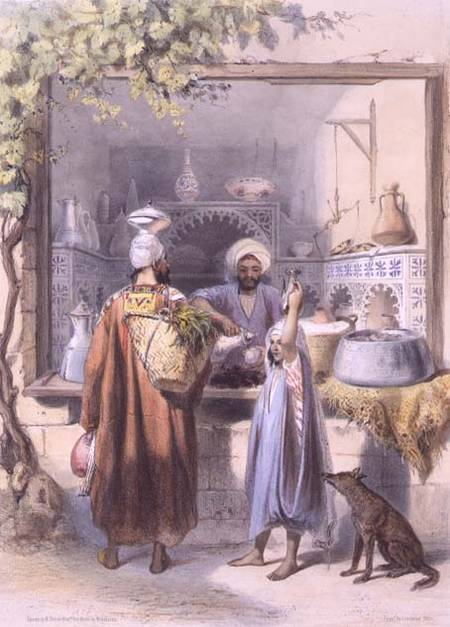 A Zeyat Or Oil Seller With Customers In His Shop In Cairo by Émile Prisse D'avennes (1807-1879, France) | Oil Painting | WahooArt.com