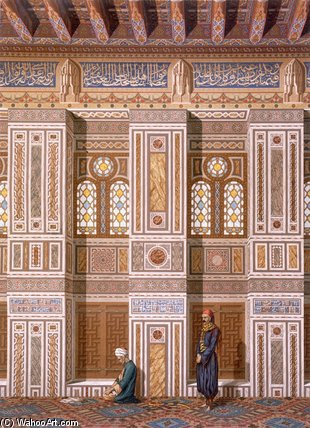 Interior Of The Mosque Of Qaitbay by Émile Prisse D'avennes (1807-1879, France) | Museum Art Reproductions Émile Prisse D'avennes | WahooArt.com