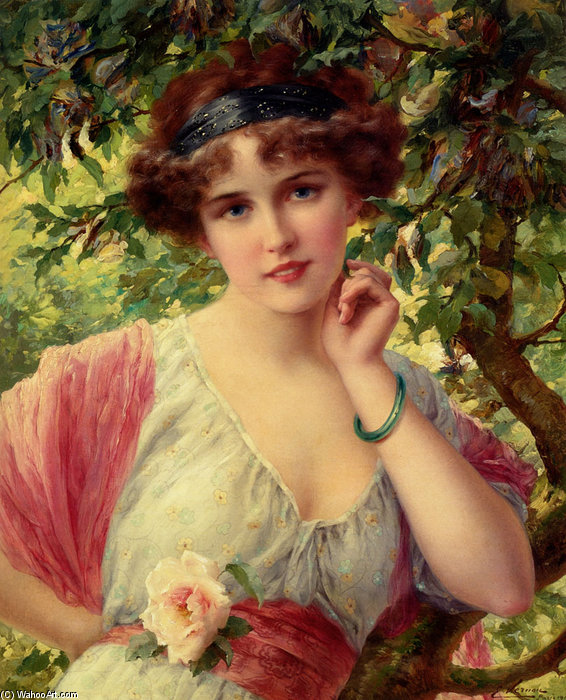 A Summer Rose by Emile Vernon (1872-1920, France) | Famous Paintings Reproductions | WahooArt.com