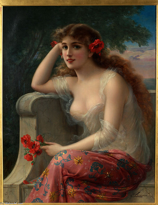 Girl With A Poppy by Emile Vernon (1872-1920, France) | Painting Copy | WahooArt.com