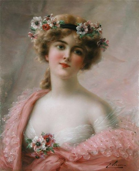 Girl With Anemones by Emile Vernon (1872-1920, France) | Museum Quality Reproductions | WahooArt.com