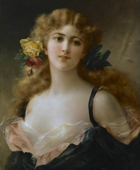 Portrait De Jeune Fille by Emile Vernon (1872-1920, France) | Oil Painting | WahooArt.com