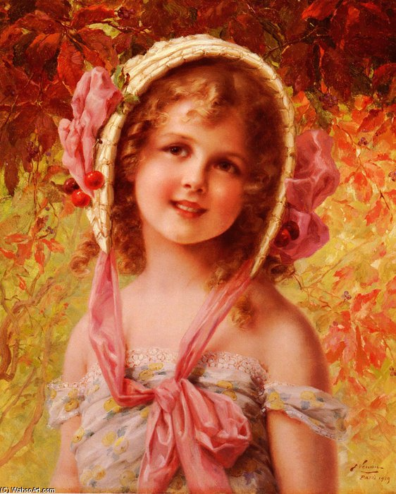 Order Reproductions | The Cherry Bonnet by Emile Vernon (1872-1920, France) | WahooArt.com
