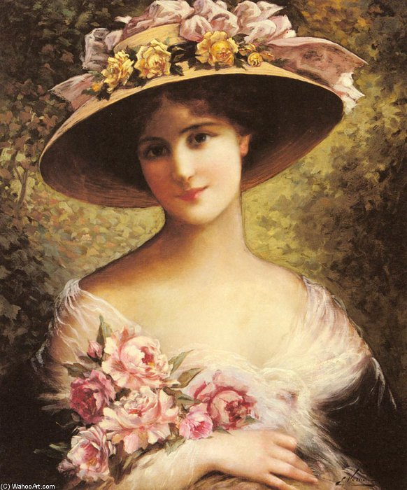 The Fancy Bonnet by Emile Vernon (1872-1920, France)