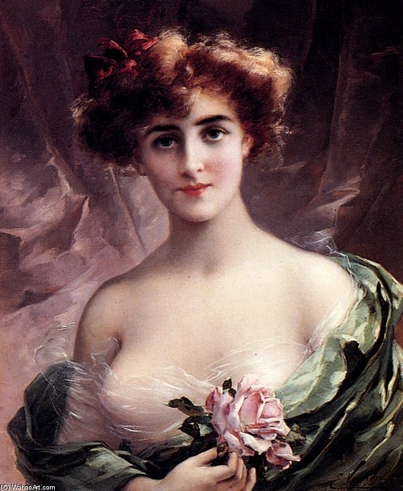 The Pink Rose by Emile Vernon (1872-1920, France) | Museum Quality Reproductions | WahooArt.com