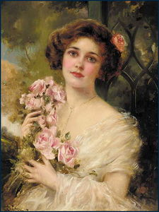 Emile Vernon - Young Woman With Roses