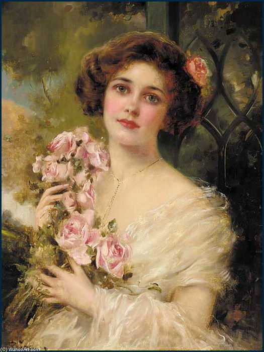 Young Woman With Roses by Emile Vernon (1872-1920, France) | Art Reproduction | WahooArt.com