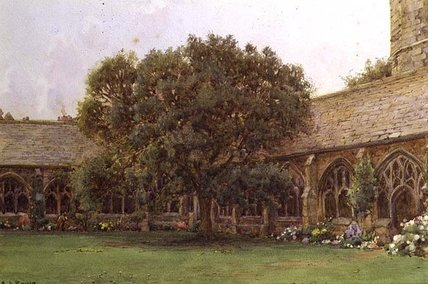 The Cloister by Ernest Arthur Rowe (1863-1922, United Kingdom)