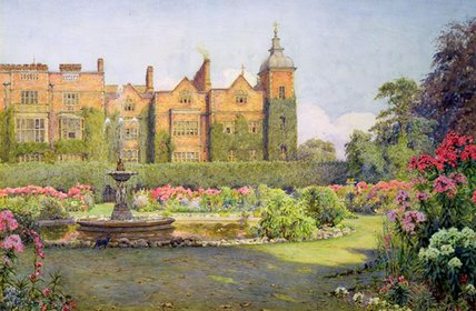 Order Art Reproduction : West Front And Gardens Of Hatfield House by Ernest Arthur Rowe (1863-1922, United Kingdom) | WahooArt.com