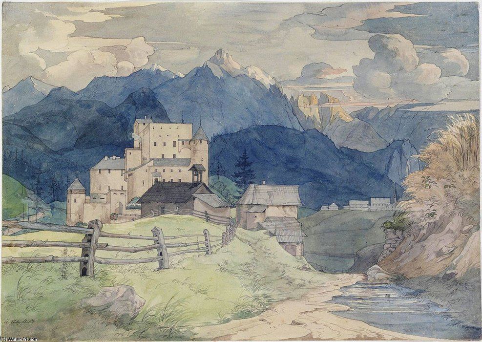 Castle Naudersberg In Tyrol by Ernst Ferdinand Oehme (1797-1855, Germany)