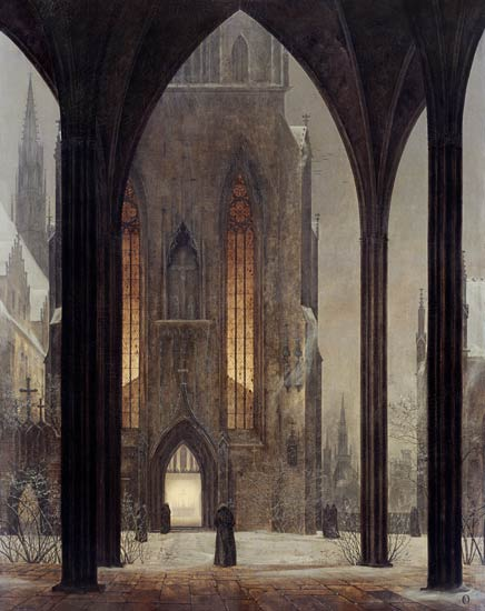 Cathedral In Winter by Ernst Ferdinand Oehme (1797-1855, Germany) | Painting Copy | WahooArt.com