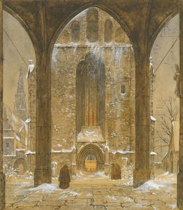 Ernst Ferdinand Oehme - Cloister In Winter