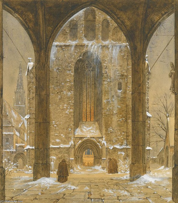 Cloister In Winter by Ernst Ferdinand Oehme (1797-1855, Germany) | WahooArt.com