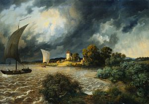 Ernst Ferdinand Oehme - Thunderstorm In The Area Of The Village Kaditz