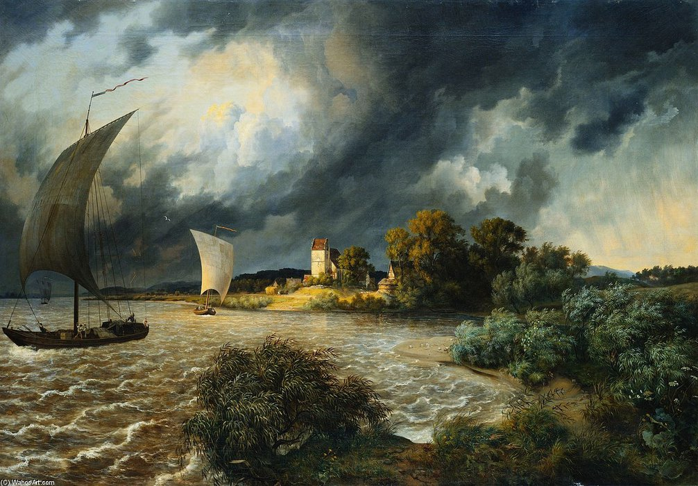 Thunderstorm In The Area Of The Village Kaditz by Ernst Ferdinand Oehme (1797-1855, Germany)