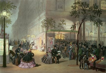 A Queue At The Theatre by Eugene Charles Francois Guerard (1821-1866, France)