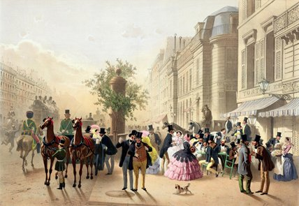 Boulevard Des Italiens by Eugene Charles Francois Guerard (1821-1866, France) | Famous Paintings Reproductions | WahooArt.com