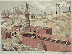 Eugène Samuel Grasset - Laying The Foundations For The Eiffel Tower