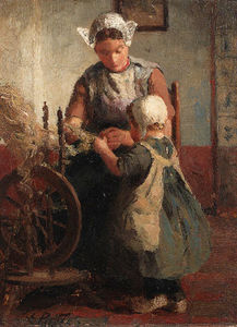 Evert Pieters - Helping Mother With The Spinning-wheel