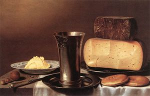 Floris Gerritsz Van Schooten (Floris Verschoten) - Still-life With Glass, Cheese, Butter And Cake